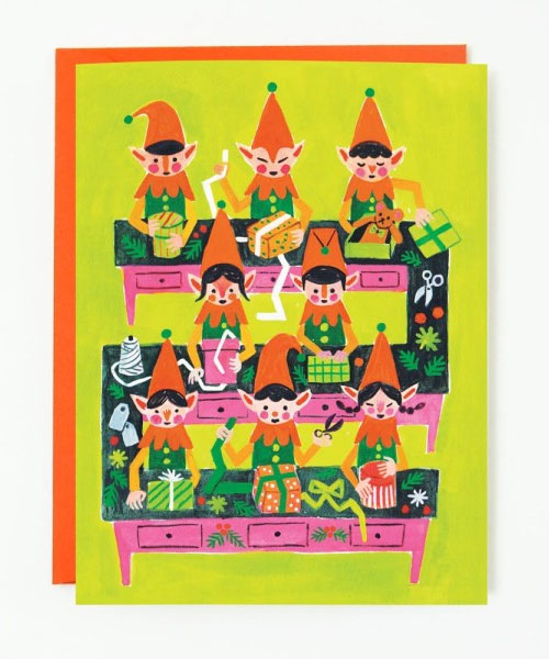Santa's Elves Greeting Card by Quill & Fox