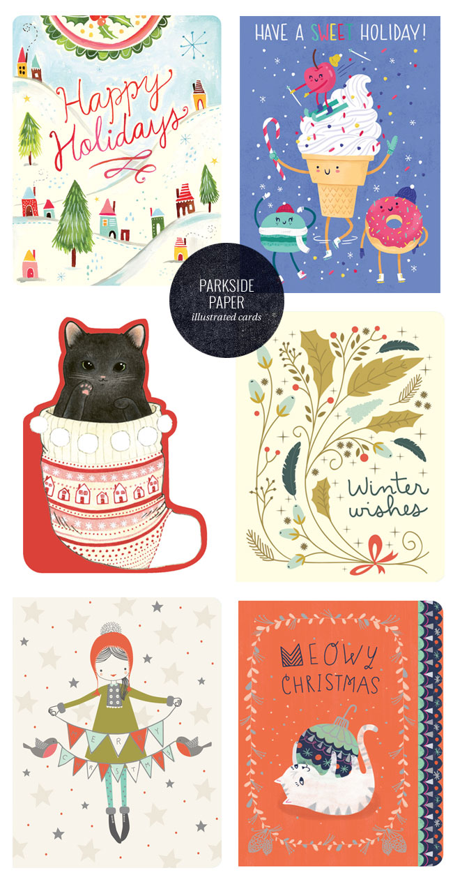 Illustrated Holiday Greeting Cards from Parkside Paper + Gift