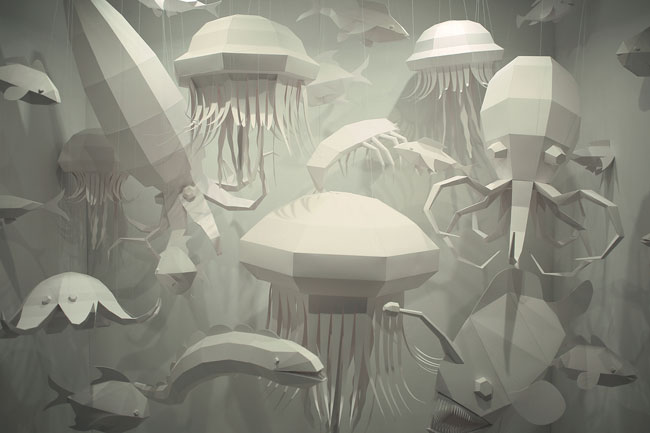 Abyss Paper Art Installation by Zim & Zou