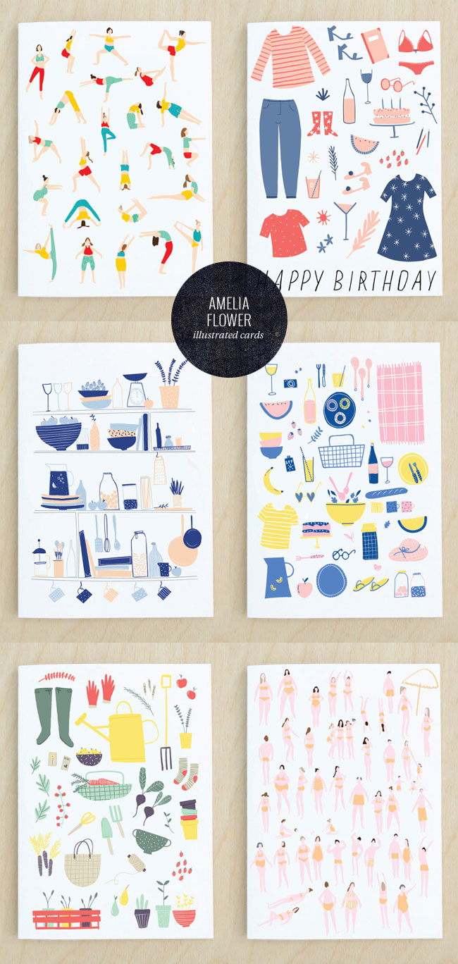Amelia Flower Illustrated Greeting Cards