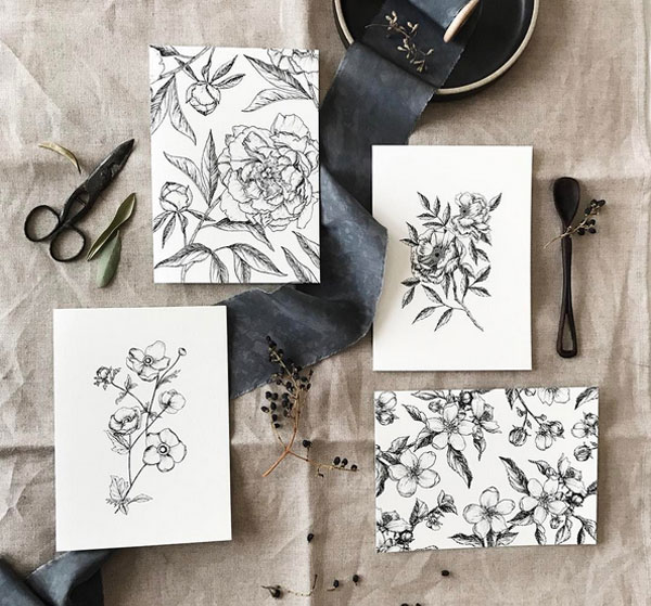 Esther Clark Floral Illustrated Cards