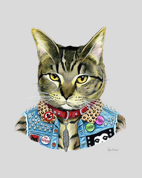 Punk Rock Cat Art Print from Ryan Berkley Illustration