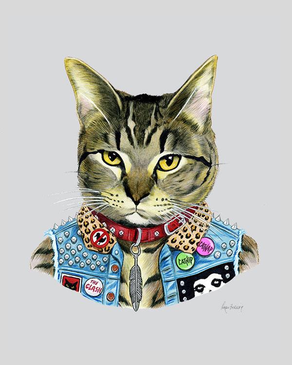 Punk Rock Cat Art Print from Ryan Berkley Illustration