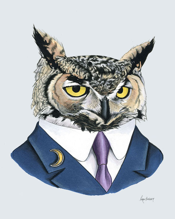 Owl Art Print from Ryan Berkley Illustration