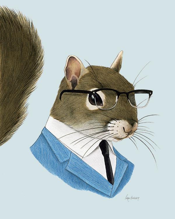Squirrel Gentleman Art Print from Ryan Berkley Illustration