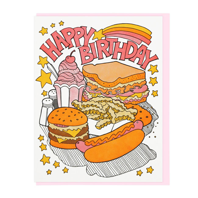 Fast Food Letterpress Birthday Card | Lucky Horse Press