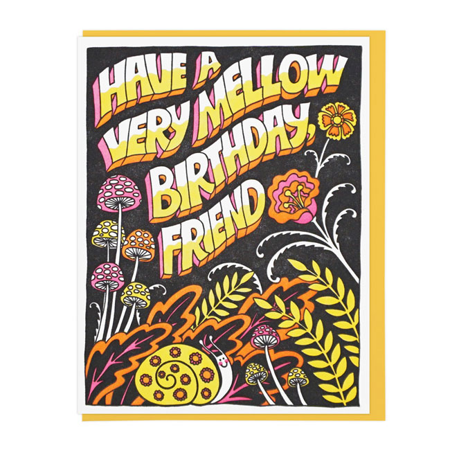 Mellow Letterpress Birthday Card | Lucky Horse Press