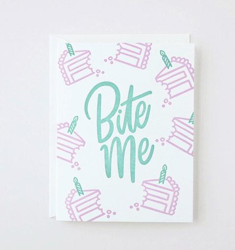 Bite Me Letterpress Card from Friendly Fire Paper