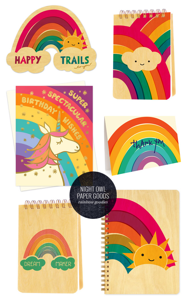 Rainbow Themed Paper Goods from Night Owl Paper Goods