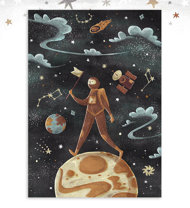 Astronaut Art Print by Dot Boat / Daria Danilova