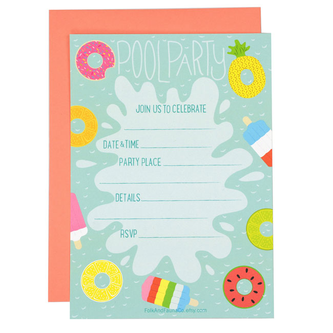 Fill-In Pool Party Invitations from Folk & Fauna Co.