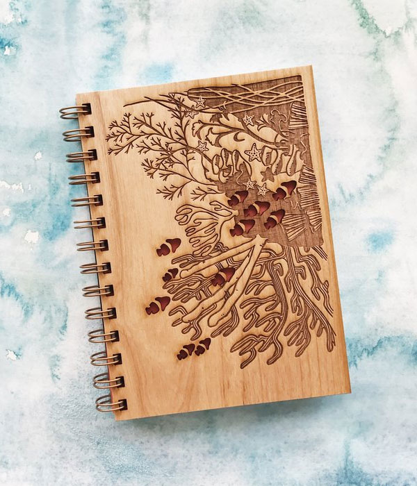 Coral Reef Wood Journal from Cardtorial