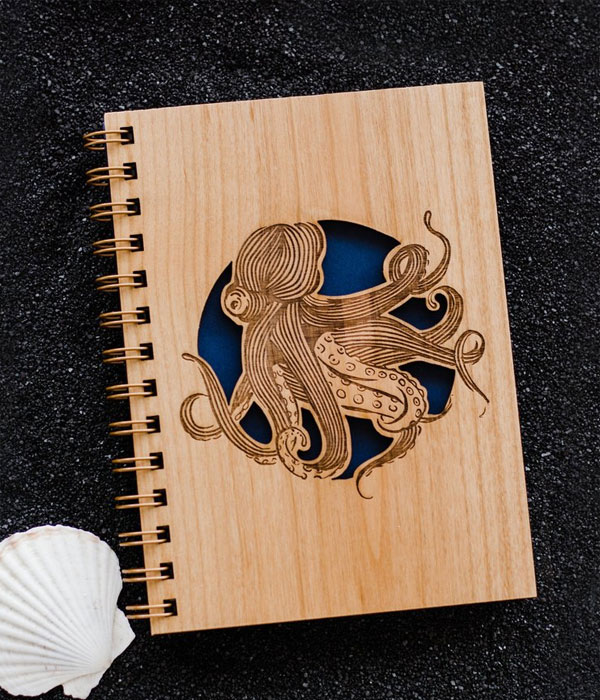 Octopus Wood Journal from Cardtorial