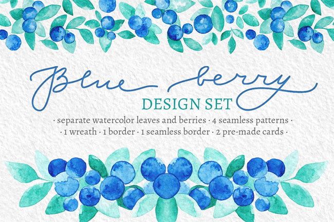 Blue Berry Watercolor Graphic Set by Yashroom