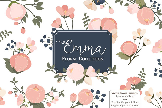 Emma Navy & Pink Floral Elements by Amanda Ilkov