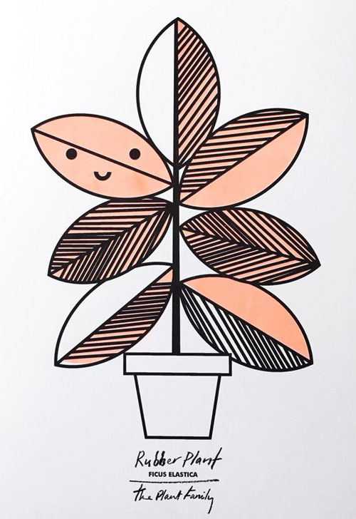 Rubber Plant Risograph Art Print from Scout Editions
