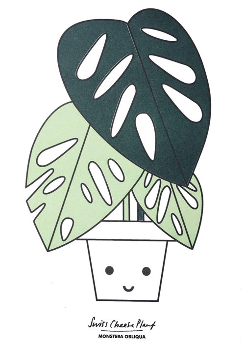 Swiss Cheese (Monstera) Plant Risograph Art Print from Scout Editions