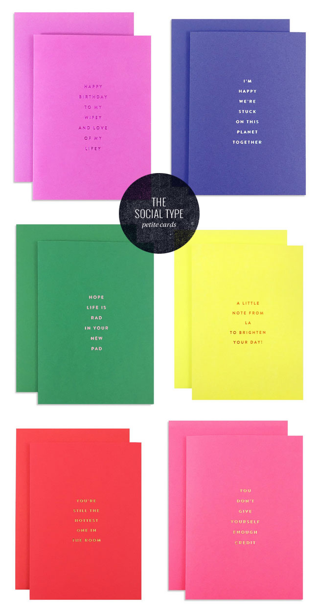 Colorful, Foil Stamped Petite Greeting Cards from The Social Type