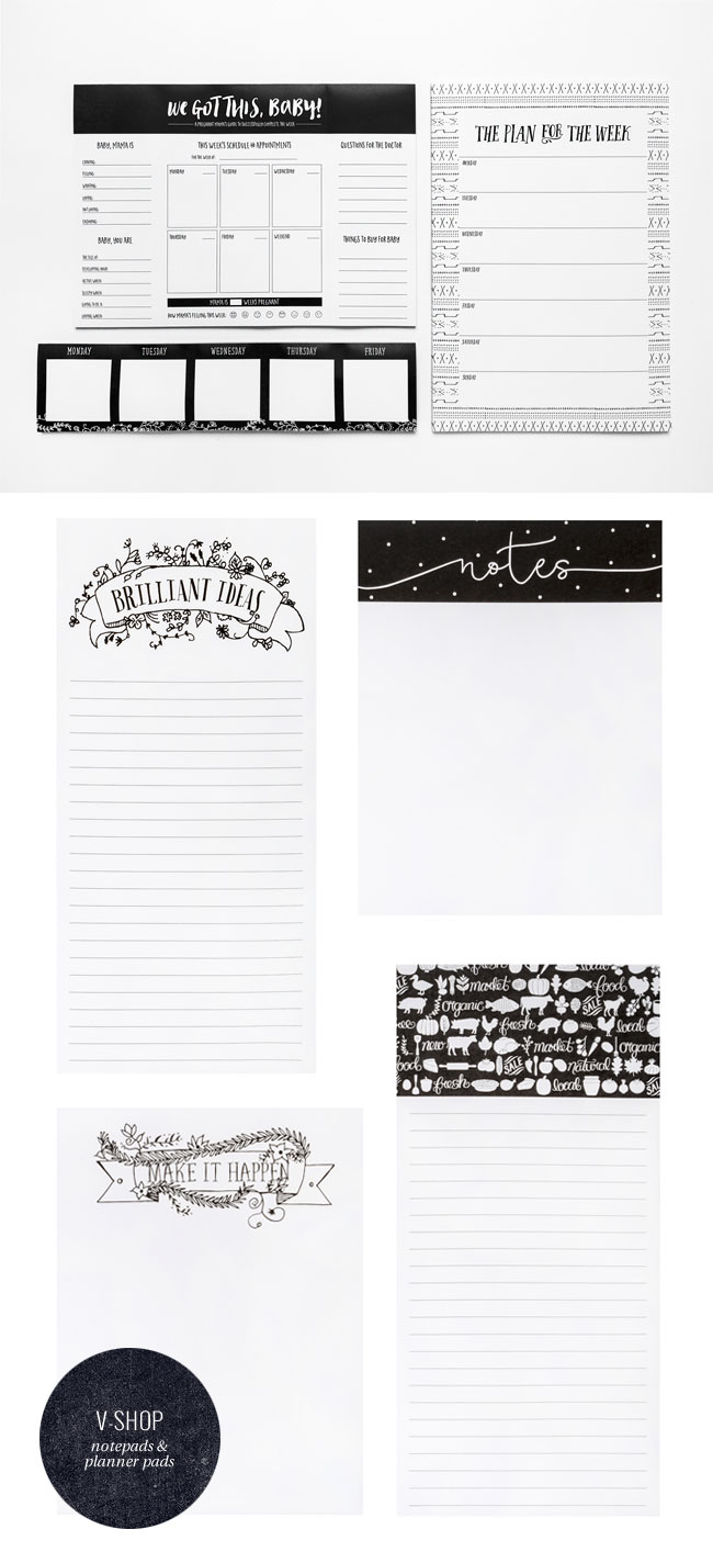 Black & White Notepads + Planner Pads from V SHOP