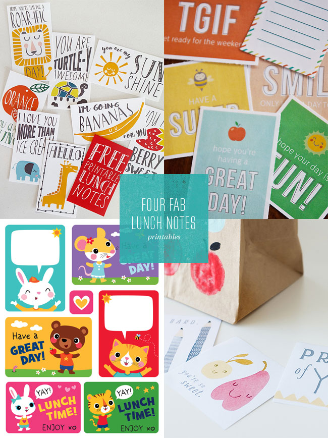 4 Fab Lunch Notes Free Printables