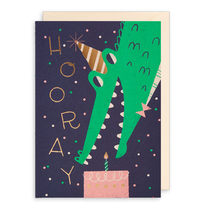 Hooray Gator Birthday Card by Lydia Nichols for Lagom