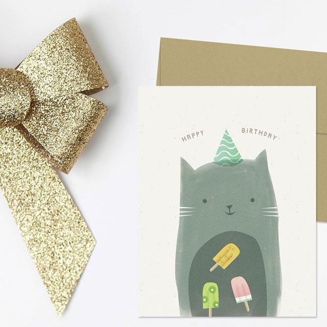 Kitty Cat Illustrated Birthday Card by Nocciola Design #birthdaycard
