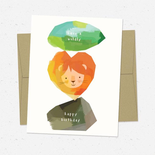Rock Lion Leaf Illustrated Birthday Card by Nocciola Design