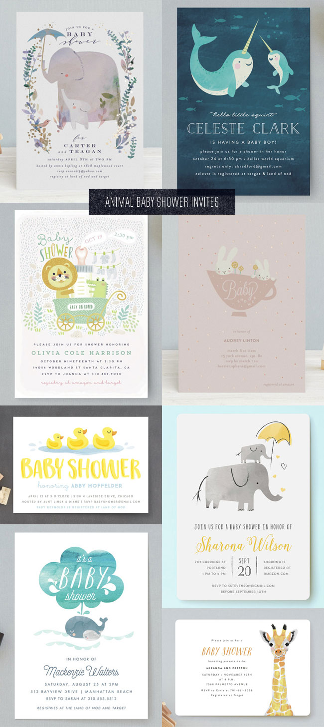 Cute Animal Themed Baby Shower Invitations from Minted #minted #babyshower