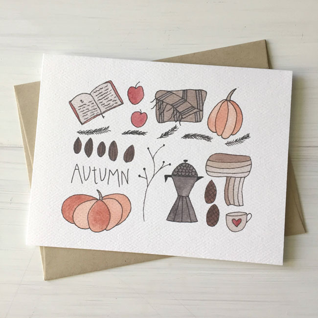 Illustrated Autumn Watercolor Card by Fox & Bear Paper Co.