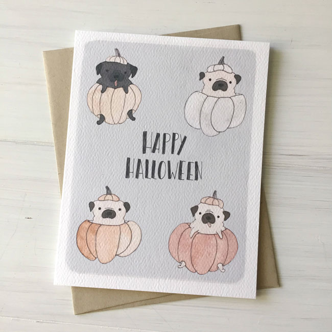 Illustrated Halloween Pugs Watercolor Card by Fox & Bear Paper Co.
