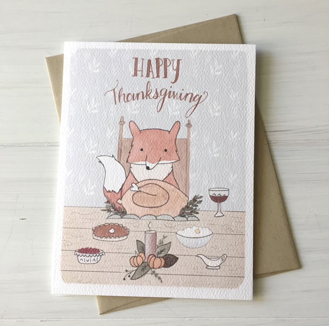 Illustrated Thanksgiving Fox Watercolor Card by Fox & Bear Paper Co.