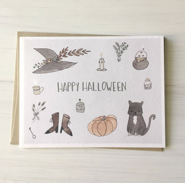 Illustrated Happy Halloween Watercolor Card by Fox & Bear Paper Co.