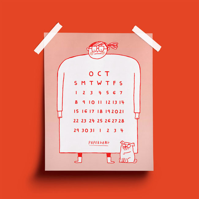 Free Printable October Calendar by Gemma Correll for Papergang