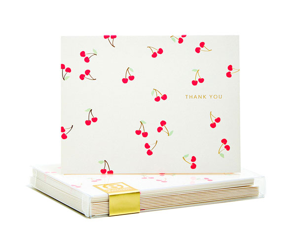 Cherries Gold Foil Thank You Notes