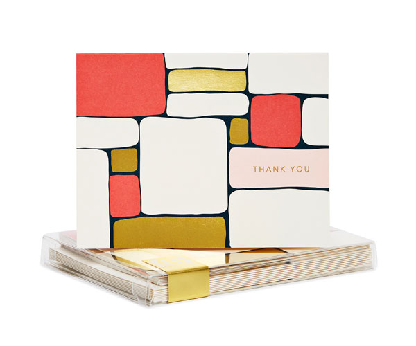 Blocks Gold Foil Thank You Notes