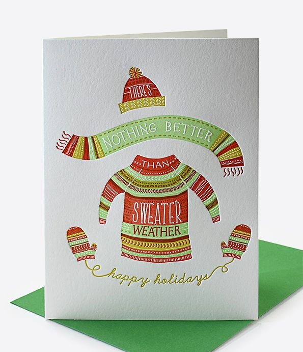 Christmas Sweater Letterpress Holiday Card by Elum #letterpress