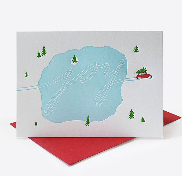 Joy Ice Tracks Letterpress Holiday Card by Elum #letterpress