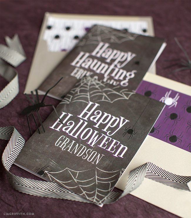 Free Printable Halloween Cards from Lia Griffith (Personalize)