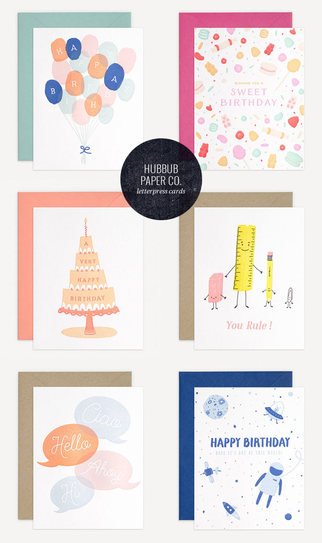 Letterpress Birthday Cards & Everyday Cards from Hubbub Paper Co.