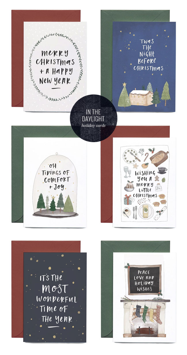 Darling Illustrated & Hand Lettered Holiday Cards by In the Daylight #holidaycards