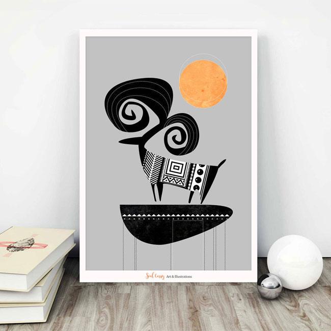 Folk Art Inspired Ram Art Print from Soul Curry