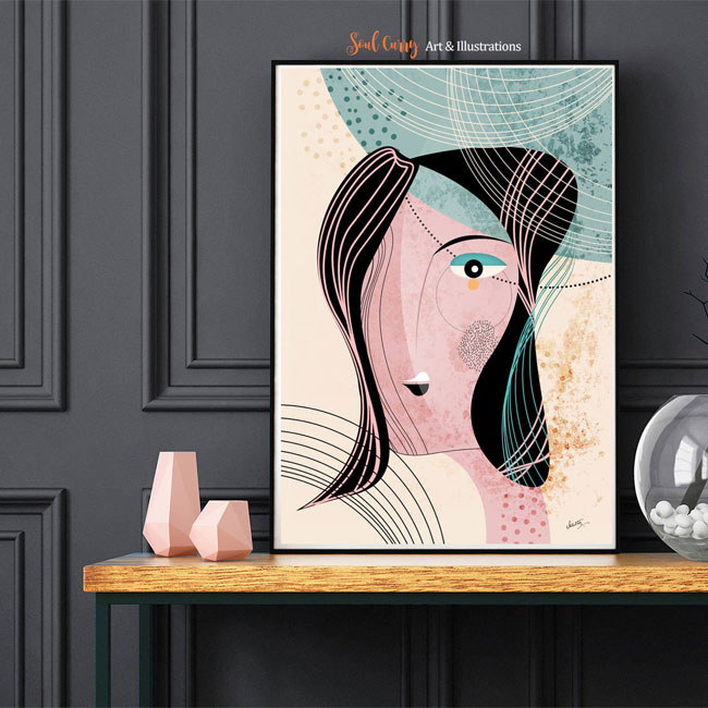 The Muse Modern Scandinavian Style Art Print from Soul Curry