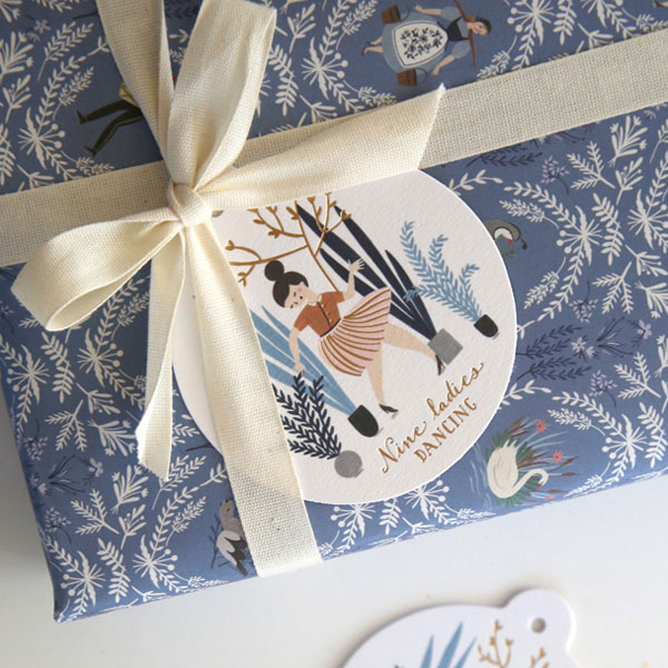 12 Days of Christmas Gift Tags from Bespoke Press, featuring illustration by Meghann Rader