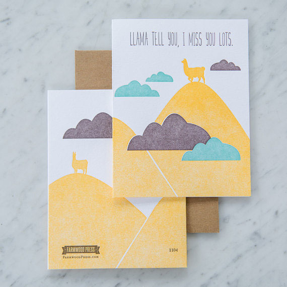 Lllama Tell You, I Miss You Lots Letterpress Card from Farmwood Press #letterpress