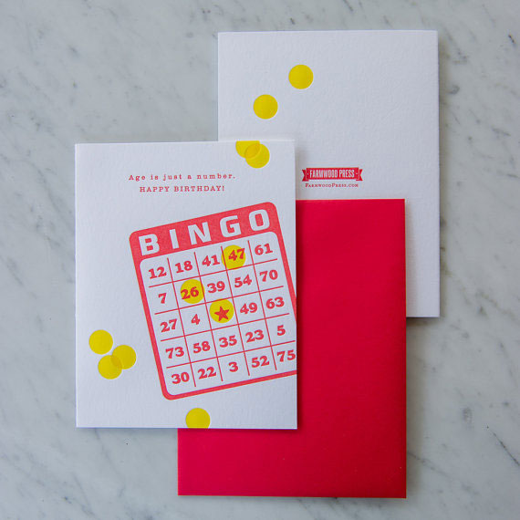 Bingo Birthday Letterpress Card from Farmwood Press #letterpress