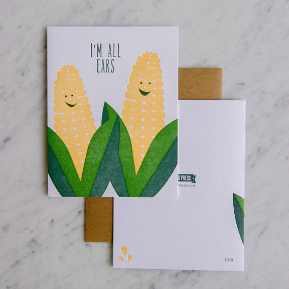 All Ears Corn Letterpress Card from Farmwood Press #letterpress