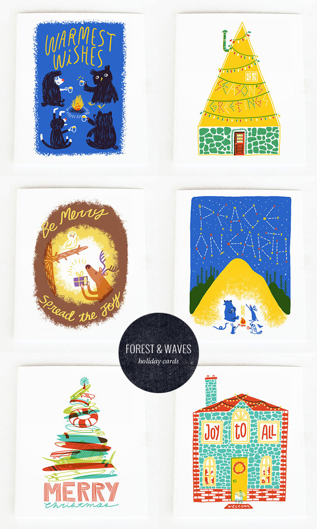 Quirky & Festive Silkscreen Holiday Cards by Forest & Waves