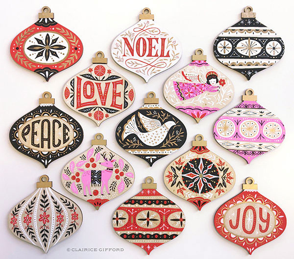 Painted Wood Christmas Ornaments by Clarice Gifford
