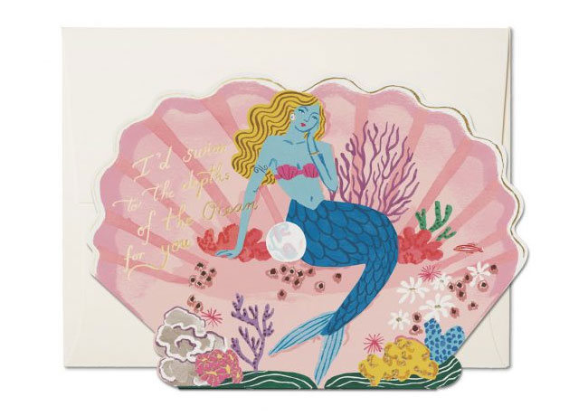Blue Mermaid Valentine Card by Danielle Kroll for Red Cap Cards