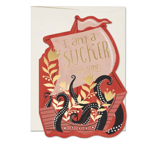Octopus Ship Valentine by Dinara Mirtalipova for Red Cap Cards